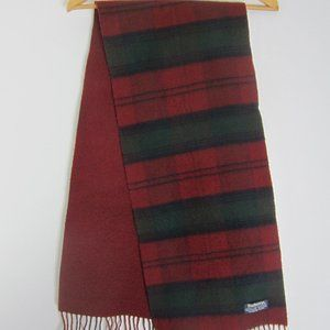 Vtg Burberry Maroon Green Cashmere Wool Scarf